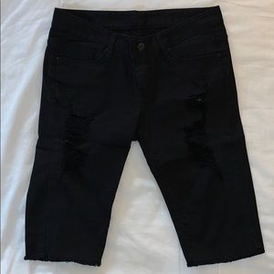 Pants - Black denim shorts almost down to the knees